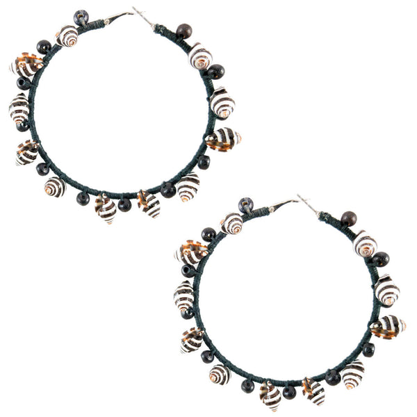 Tropical style black hemp wrapped silver hoop earrings with black and white shells