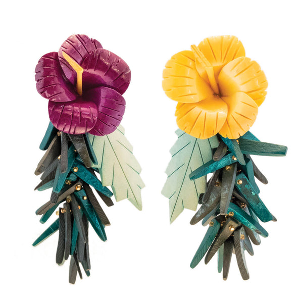 tropical style earrings with purple and yellow hibiscus flowers, green leaves in wood and coco sticks