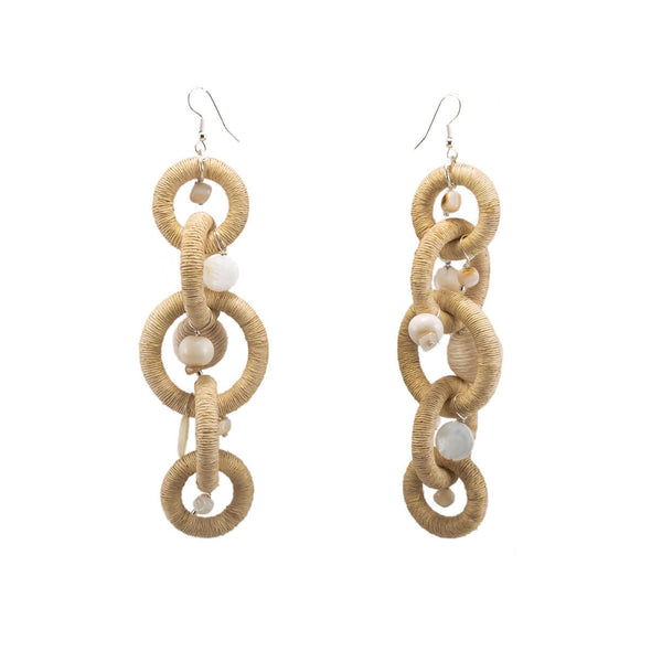 tropical neutral tone buri twin chain earrings long with mother of pearl charms