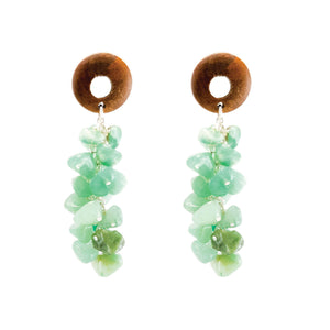 island style mint gemstone and wood dangle earrings