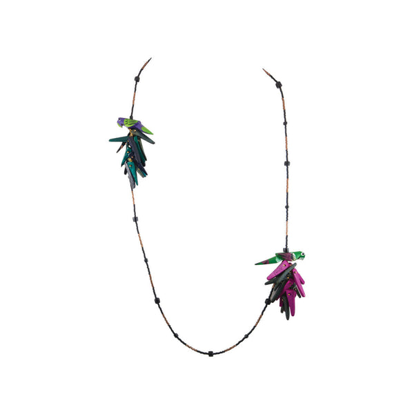 Tropical jungle inspired vintage parrot necklace, with 2 parrots in green, purple, and pink, on strung black beads
