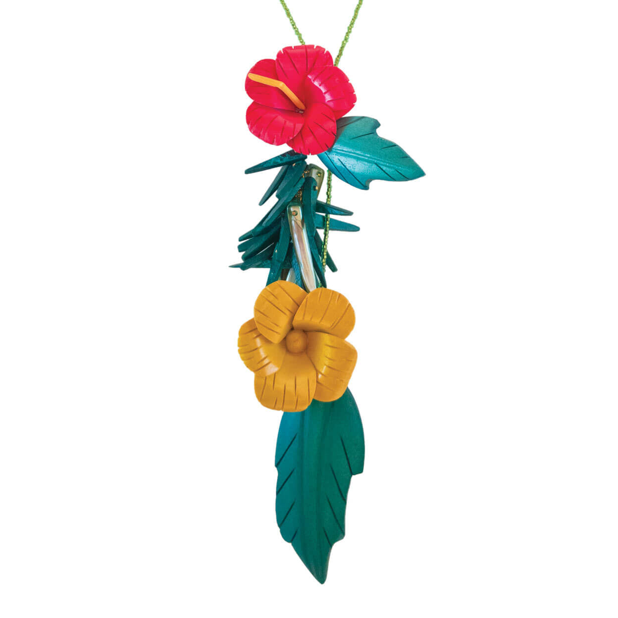 close up of tropical hibiscus lariat that can be worn many ways, red and yellow flowers with two green leaves