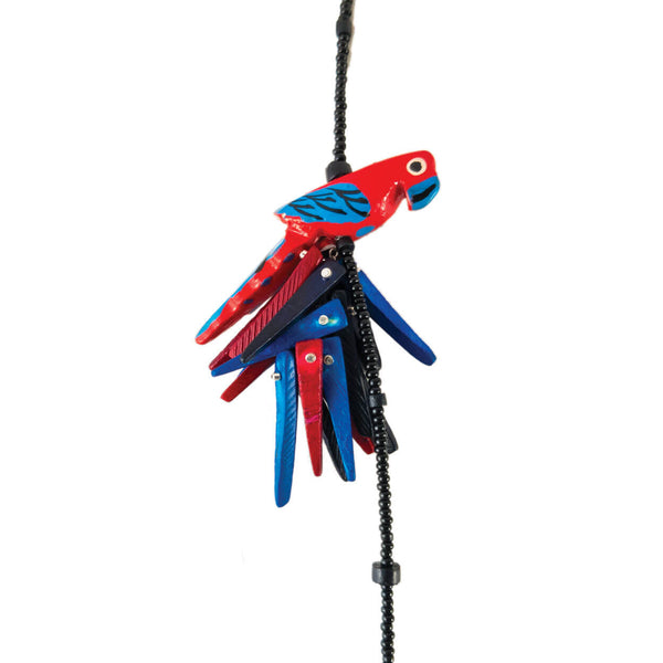 tropical style vintage red parrot necklace up close