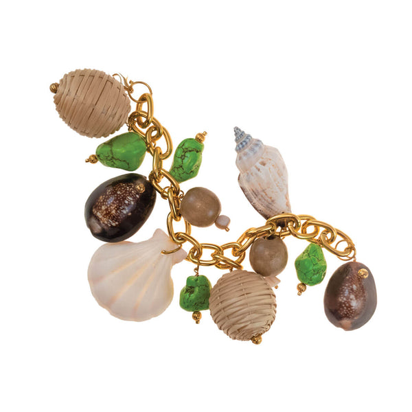 tropical beach style charm bracelet with gold-tone metal chain link, two vintage basket waeve charms, green turquoise, wood, and shells