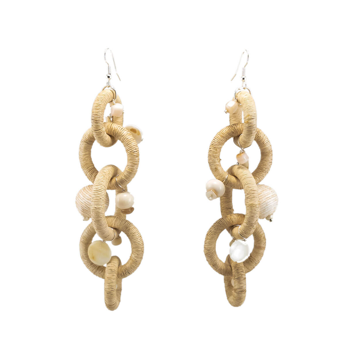 tropical beach buri twine chain long earrings in sand with bone and mother of pearl