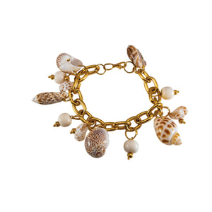68559cf3479ce9 Tidal Wave | Tropical Gold Bracelet With Shell Charms | Tropicales ...