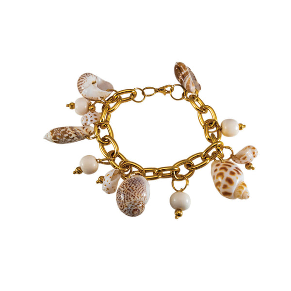 tropical beach shell and bone charm bracelet on gold chain