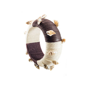 tropical shell beach bracelet large cuff wrapped in brown and tan hemp