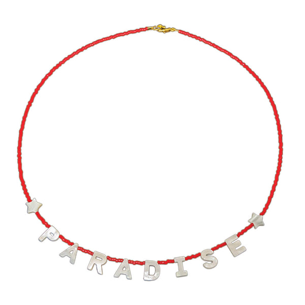 "Tropical beach necklace that reads ""paradise"" in mother of pearl letters, and seed beads"