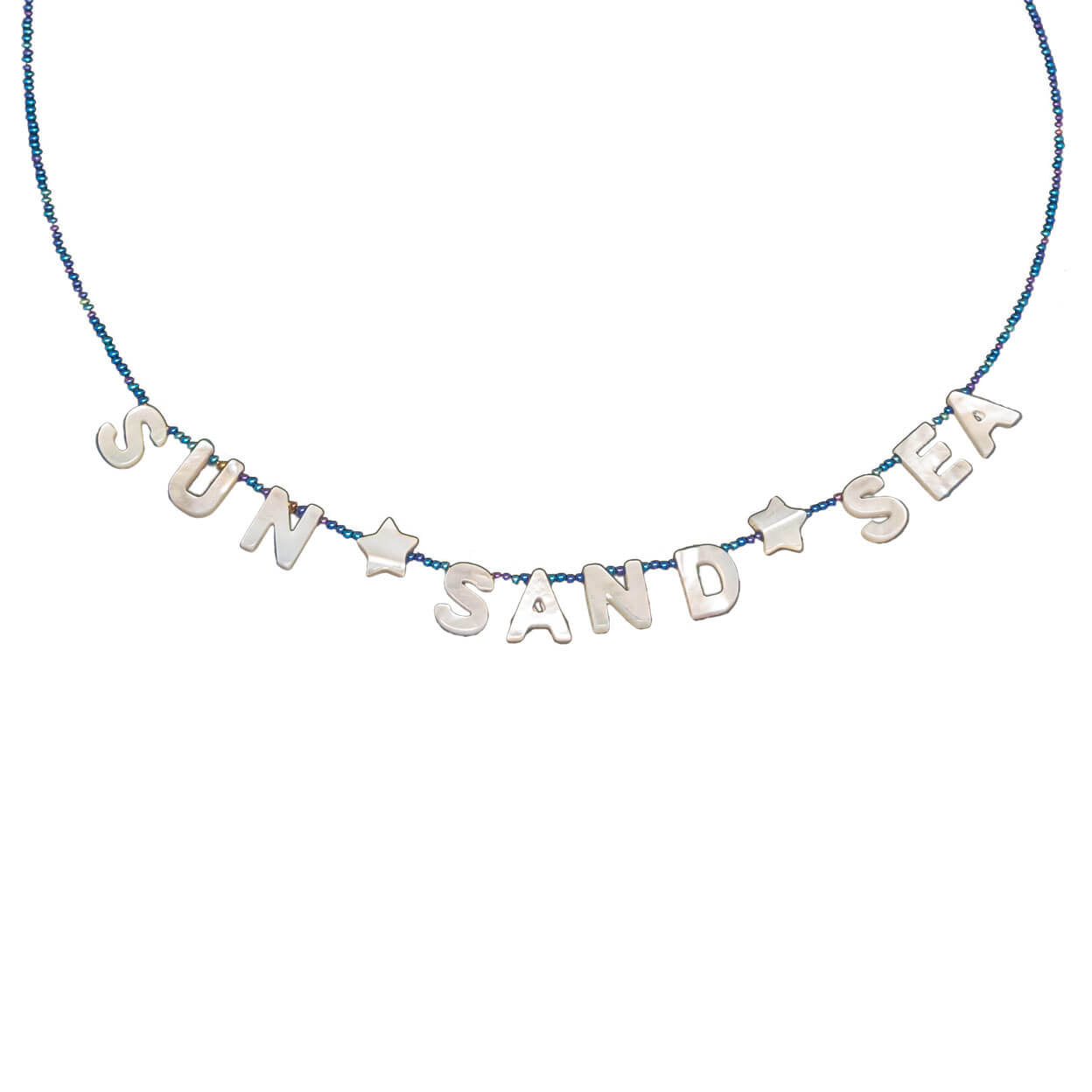 "tropical necklace with mother of pearl letters that reads ""sun sand sea"" and seed bead strand"