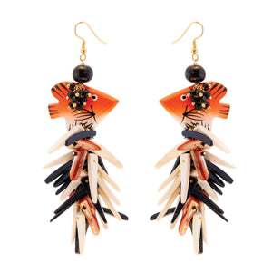 tropical beach orange, black and sand fish earrings with coco sticks and hooks
