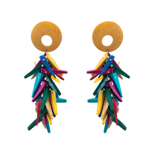 Tropical coco stick earrings in rainbow colors