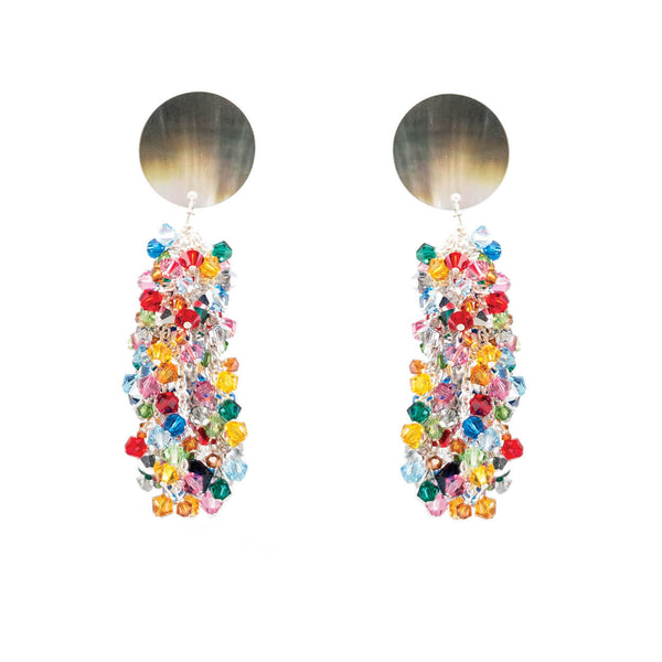 tropical style mother of pearl and rainbow crystal dangle earrings