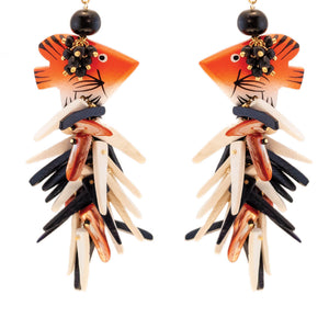 tropical style earrings with orange, black, ivory, fish and coco stick charms on hooks