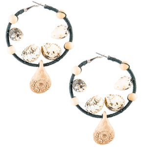tropical style black hemp hoop earrings with vintage natural pendant and shells