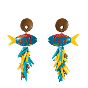 tropical blue and yellow vintage fish earrings with yellow, blue, and wood charms