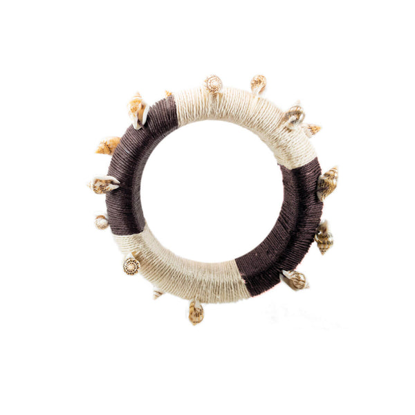 tropical shell cuff bracelet hand painted wrapped in brown and tan hemp and shells
