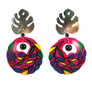 Tropical colorfully painted earrings with palm leaf mother of pearl