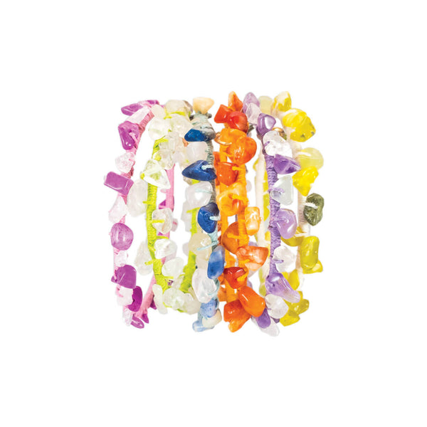 tropical style hemp & gemstone bangle bracelets shown in a variety of color ways