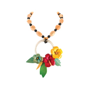 tropical necklace with three vintage hibiscus flowers on a wrapped hemp ring with wood bead strand