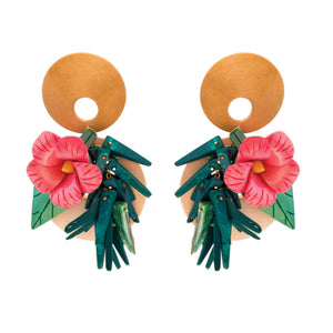 tropical earrings pink hibiscus flowers on wood with green coco sticks and mother of pearl