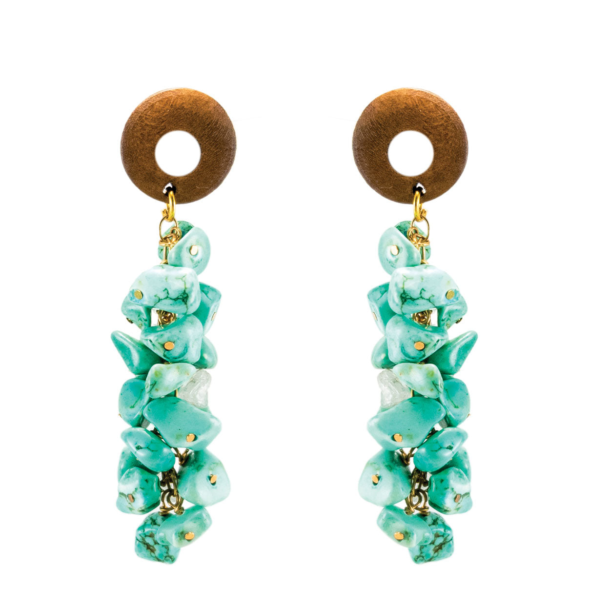 tropical style gold postback earrings with wood top and hanging turquoise stones.