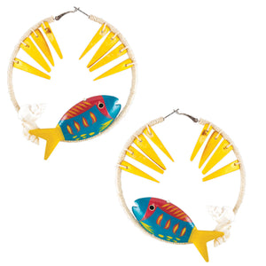 tropical large hoop earrings wrapped in sand color hemp with yellow coco sticks, shells and blue/yellow fish