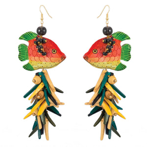 tropical earrings with orange & green vintage fish and coco stick charms in yellow, black and natural
