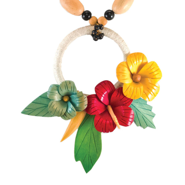 Tropical style hibiscus necklace with wrapped hemp ring and wood and black bone bead strand