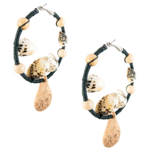 beach style hoop earrings wrapped in black hemp with natural wood , shells and vintage ceramic pendants