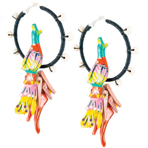 tropical style black hemp wrapped hoops with blue, orange, yellow peacocks and coco-sticks
