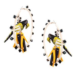 tropical style ivory hemp wrapped hoop earrings with yellow & black parrots in center with coco stick charms and black Swarovski crystal accents