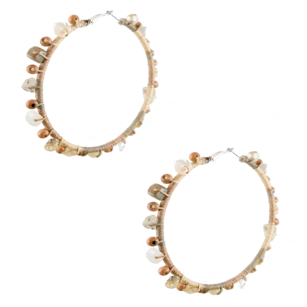 tropical beach hoop earrings wrapped in a natural ombre color hemp with wood and gemstones