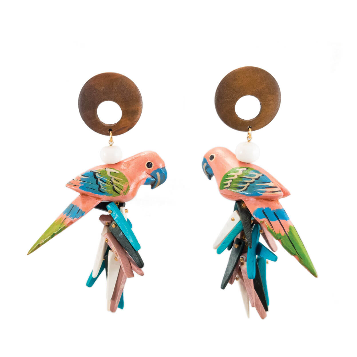 tropical style wood and peach parrot earrings with aqua, peach and black coco sticks