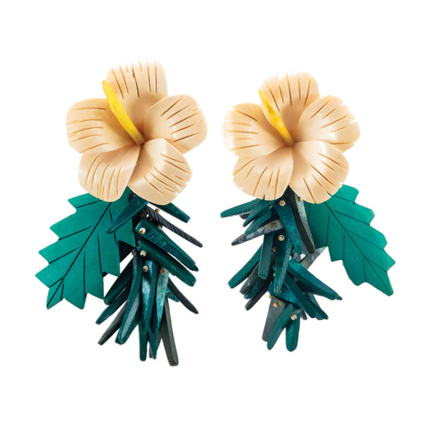 tropical vintage ivory hibiscus flower earrings with green coco sticks and leafs