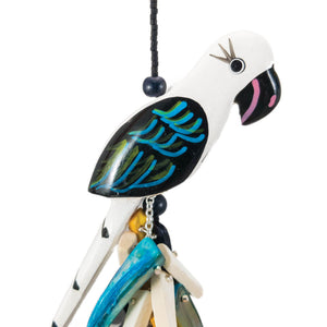 tropical long necklace wit vintage black and white parrots with mother of pearl and coco sticks