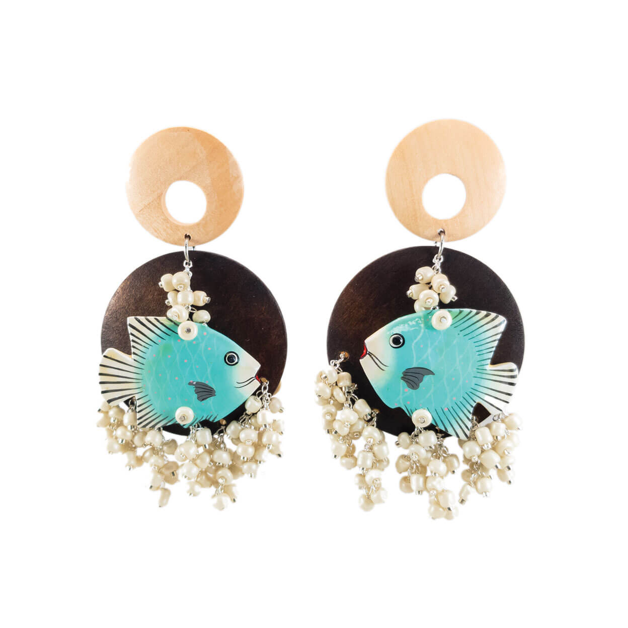 tropical style charm earrings with vintage light blue fish on dark wood back drop circles, with chandelier style ivory bone beads hanging