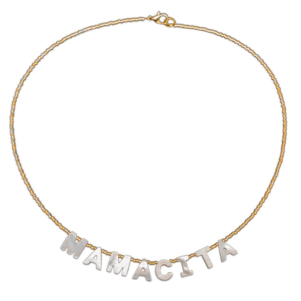 "tropical style necklace with mother of pearl letters that read ""mamacita"" on a seed bead strand"