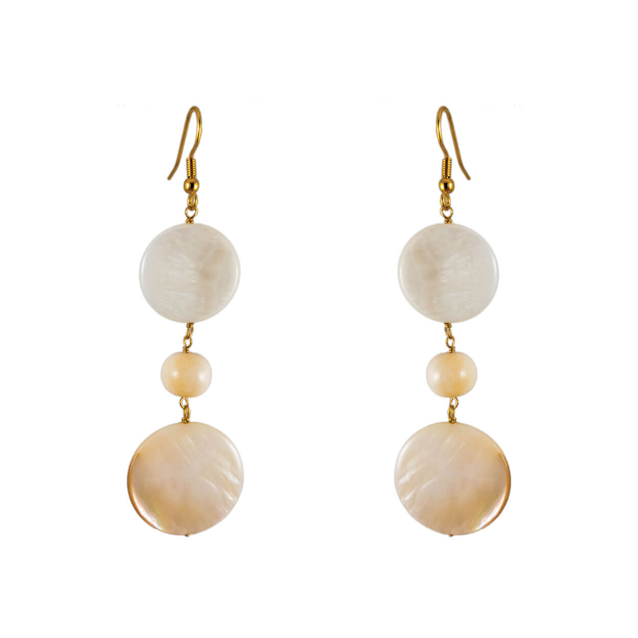 tropical earrings with ivory mother of pearl and bone on gold hooks