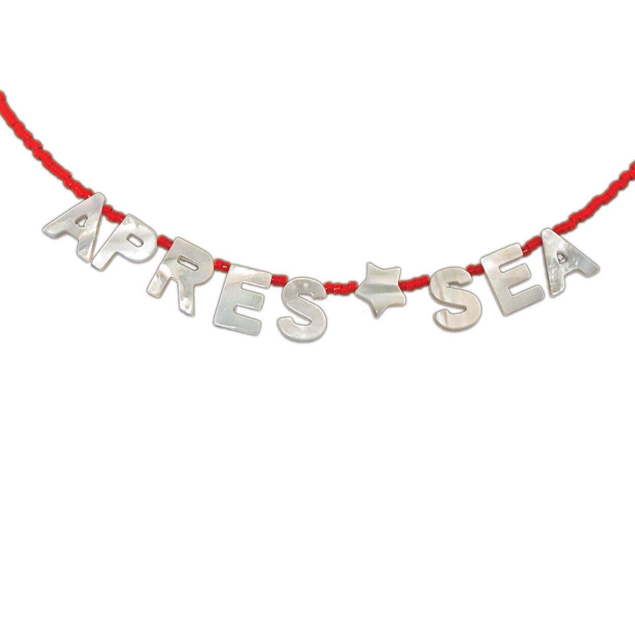 "beach necklace that says "" apres sea"" mother of pearl letters with seed bead strand"