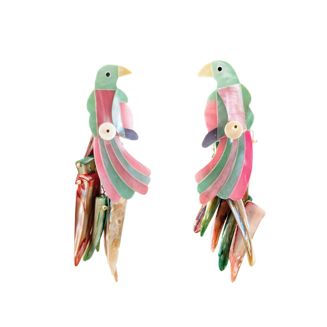 tropical pink and mint charm parrot earrings in mother of pearl
