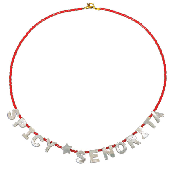 "tropical beach style necklace with mother of pearl letters that read ""spicy senorita"" on a seed bead strand"