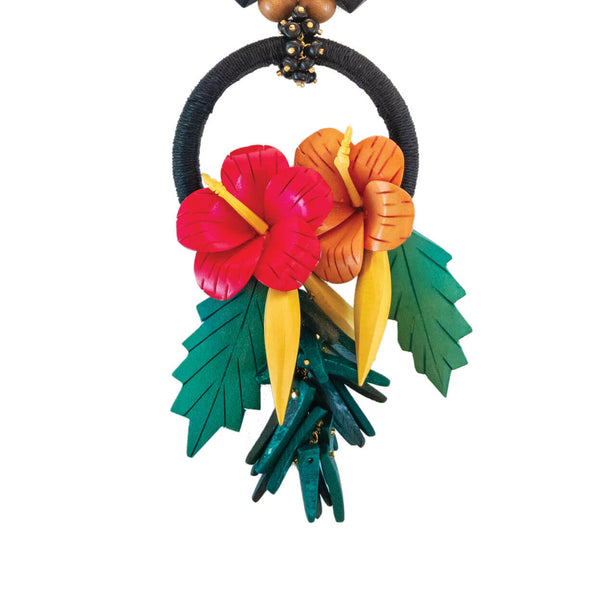 tropical style hibiscus flower statement necklace on black hemp ring with green leaves and black and brown wood beads