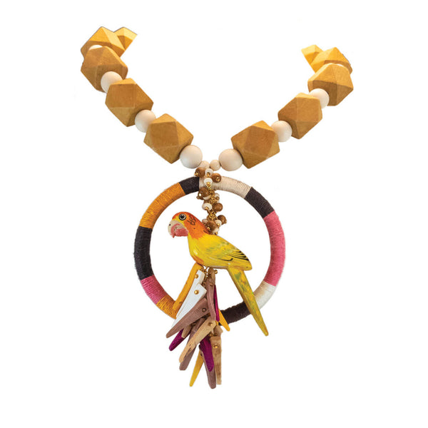tropical statement parrot necklace with orange and pink hemp wrapped ring and coco stick charms