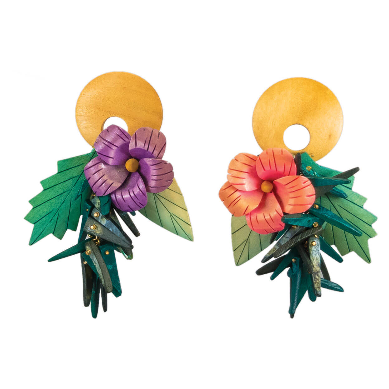 tropical style pink & purple hibiscus earrings with coco sticks and mother of pearl