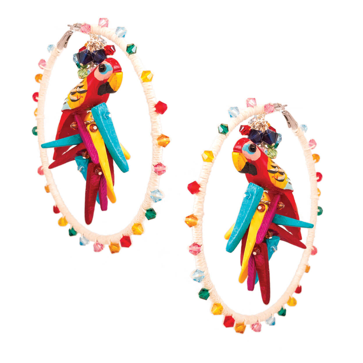 tropical beach style ivory hemp wrapped hoop earrings with rainbow swarovski crystals and parrots with coco sticks