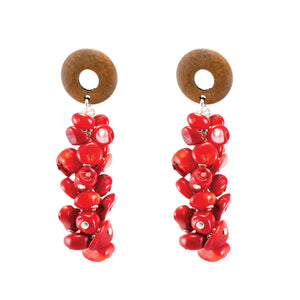 Tropical beach style red coral and wood dangle earrings on silver chain