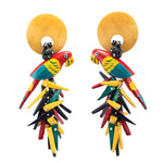 tropical red parrot earrings in natural wood and yellow, red, and black