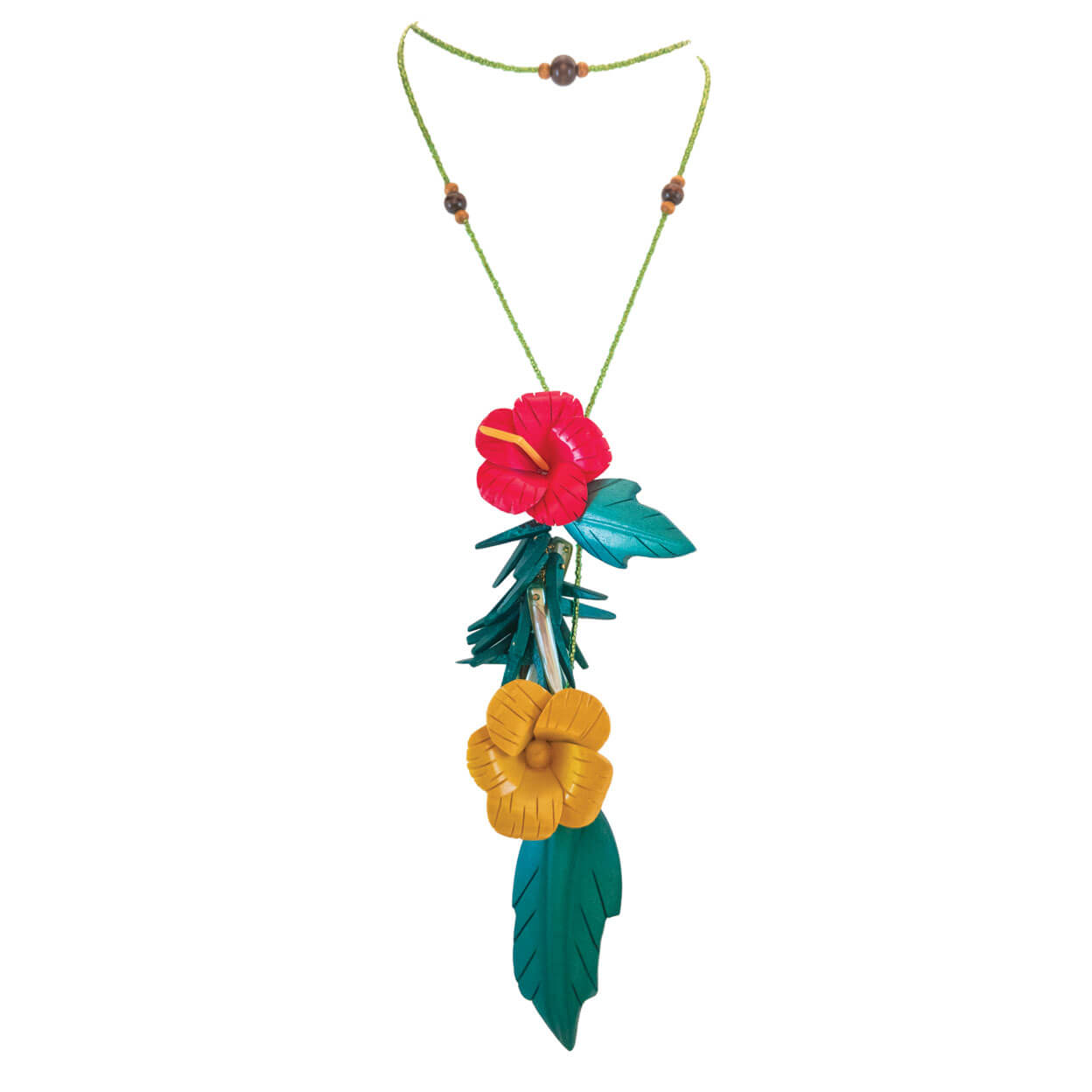 tropical wrap style lariat necklace with two vintage hibiscus flowers and leaves, in red & yellow with green beads