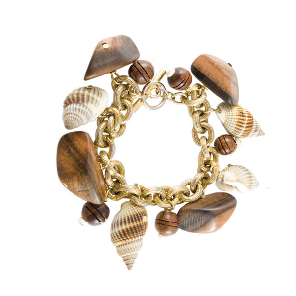tropical shell and wood charm bracelet on brass chain